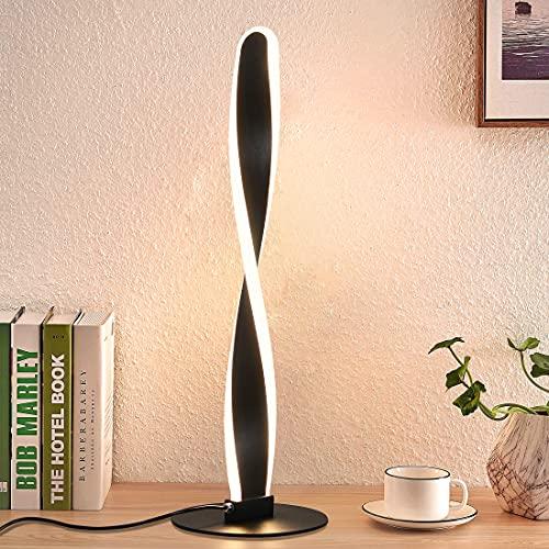 ZMH LED Tischlampe in Schwarz aus Aluminium Moderne Tischleuchte Büroleuchten Augenschutz Stufenlose Helligkeit Dimmbar mit Schalter LED Nachttischlampen für Schlafzimmer Wohnzimmer