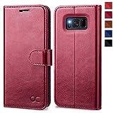 OCASE Samsung Galaxy S8 Hülle, Handyhülle Samsung Galaxy S8 [Premium Leder] [Standfunktion] [Kartenfach] [Magnetverschluss] Schlanke Leder Brieftasche für Samsung Galaxy S8 (5,8 Zoll) (Burg&y)