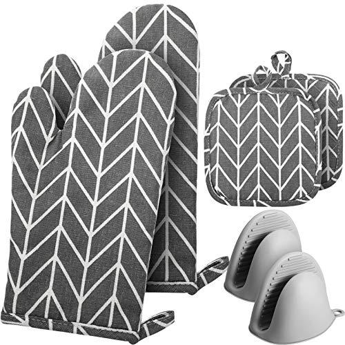 2 Stück Baumwolle Ofenhandschuhe hitzebeständige Küchenschutzhandschuhe, 2 Stück Topflappen Küche Topflappen und 2 Stück Mini Anti-Rutsch-Silikon-Handschuhe zum Kochen, Backen, Grillen, BBQ