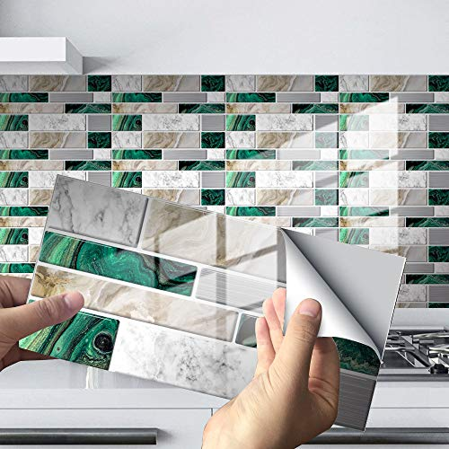 LUOQI Paneles de Pared de plástico PVC con diseño de Azulejos 3D Decorativos, Adhesivo de Azulejo Aspecto Mármol para Cocina Baño, Collage de Azulejos Resistentes al Agua,20 * 10cm