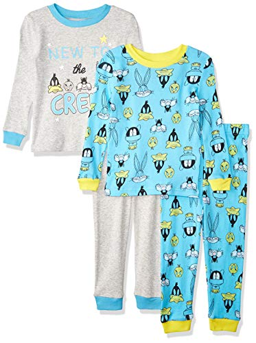 Looney Tunes Toddler Boys 4 Piece Cotton Snug Fit Pajama Sets, Blue Multi, 2T