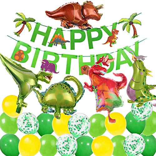 MAKFORT Kindergeburtstag Deko Dinosaurier Happy Birthday Girlande und Folienballons Dinosaurier mit Konfetti Luftballons Grün für Kindergarten Dekoration Urwald Party Geburtstag Junge