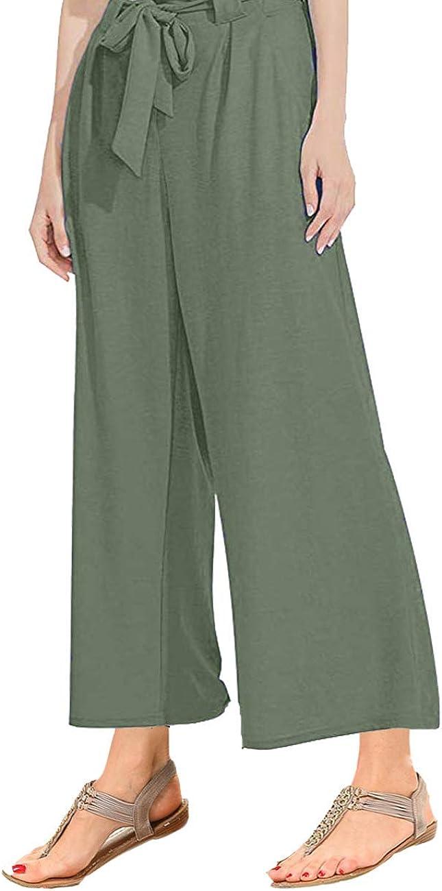 GlorySunshine Women's Elastic Waist Solid Palazzo Casual Wide Leg Pants with Pockets