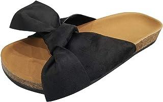 Yamall Women'S Summer Bow Flat Bottom Toe Soft Bottom Non-Slip Beach Shoes Slippers Sandals 35-43