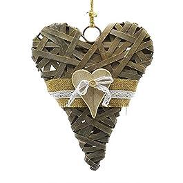 Innova Patère cœur en bois de rotin 26 cm