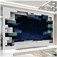 カスタム壁画 3D壁紙 スクエアスターリースカイ リビングルームテレビソファの家の装飾 -200x140cm/79x55inch