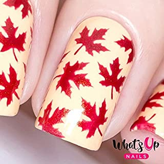 Whats Up Nails - Maple Leaves Vinyl Stencils for Nail Art Design (1 Sheet, 12 Stencils)