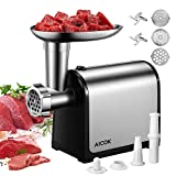 AICOK Electric Meat Grinder, 3-IN-1 Meat Mincer & Sausage Stuffer, [2000W Max] Food Grinder with Sausage & Kubbe Kits, 3 Grinding Plates & 2 Blades, Stainless Steel, Home Kitchen & Commercial Use