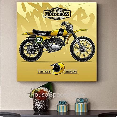 JLFDHR Lienzo decorativo de 40 x 60 cm, sin marco, decoración retro de Cafe Racer Vintage Moto Classic Bike Póster, impresiones de pared para el hogar Room Garaje Decor