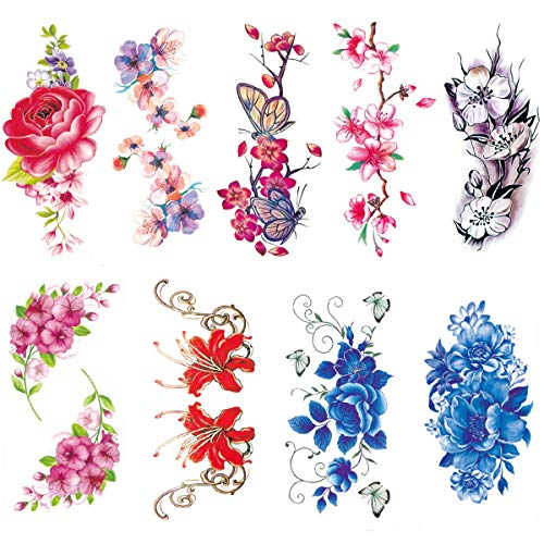 9 Sheets Large Temporary Tattoos Flower for Women Lotus Butterfly Waterproof Tattoo Stickers Sexy Girls Body Fake Tattoos