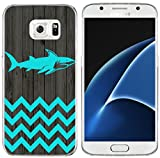 S7 Case & MUQR Bumper Rubber Gel Silicone Slim Drop Proof Protection Cover Compatible with Samsung Galaxy S7 Chevron Shark Animal Vintage