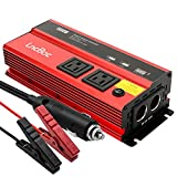 LncBoc 1000W Car Power Inverter DC 12V to 110V AC Converter, Pure Sine Wave Inverter with Dual AC Outlets and 2.4A Dual USB Ports Car Charger Adapter