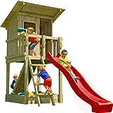 Blue Rabbit Spielturm Beach Hut mit Rutsche + Rampe mit Seil Kletterturm Holzturm Stelzenhaus mit Wasserrutsche, Fernrohr und Kletterrampe mit Seil (Podesthöhe 1,20 m, Rot)