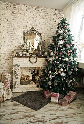 YongFoto 5x7ft fotografie achtergrond kerstboom open haard geschenken doos tapijt slinger muur houten vloer interieur foto achtergrond fotografie partij kinderen portret foto studio rekwisieten
