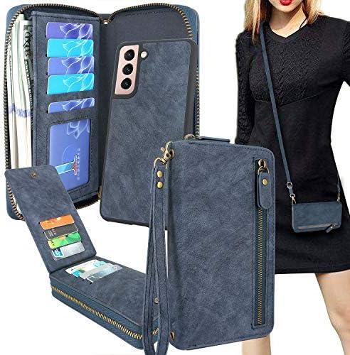 Lacass Crossbody Chain Dual Zipper Detachable Magnetic Leather Wallet Case Cover Wristlets Clutch product image