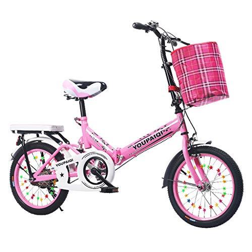 Bicicleta para niños de 6-10 años Plegable, Bicicleta Neutral para niños con absorción de Impactos y Asiento Trasero Bicicleta para niños de 16 Pulgadas con Freno