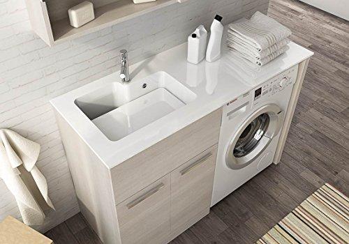 Mueble de lavandería para cubrir lavadora con lavabo integrado, 127 cm de largo x 50 cm de profundidad x lavabo de Ocritech, bañera integrada, parte superior de madera L62 P50