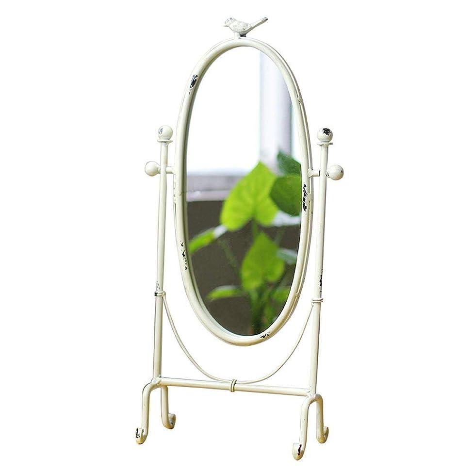 光電鼻ちょっと待って化粧鏡ヴィンテージアイアンアートホームバニティミラー創造性ベッドルームデスクトップパストラルスタイルバーディーミラーオーナメント(色:白)