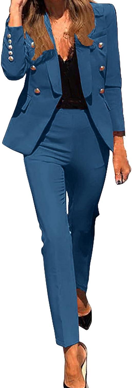 Women Suits Sets, Hip Hop Women Ladies Fashion Suit Two-Piece Solid Color Casual Suit Long Sleeve Coat Outwear Office Set