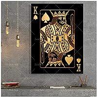 抽象的な金と銀のトランプキングクイーンhdプリントクラブバーレストランの装飾ポスター-60x90cmx1フレームなし