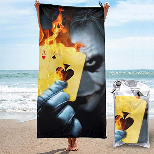 Emily-Shop Toalla de Playa Toalla de baño Joker Toalla de Playa Toalla de baño Secado rápido Viajes Playa Camping Yoga Gimnasio Toallas de Piscina Toalla Suave 27.5 x 55 Pulgadas