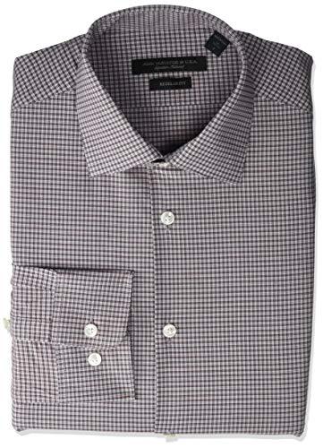 John Varvatos Star USA Men's Spencer Regular Fit Long Button Down Dress Shirt, Ruby, 16' Neck 32'-33' Sleeve