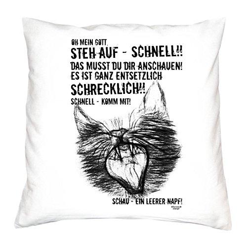Soreso Design EIN leerer Napf Katzen-Motiv :: Kissen mit Füllung 40x40 cm Tolle Geschenkidee Geschenk für Sie und Ihn für Katzenliebhaber Farbe: Weiss