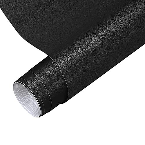 Parche de reparación de cuero de 40 x 150 cm, banda de reparación autoadhesiva para sofás, bolsos, chaquetas, muebles, asientos de coche, color negro