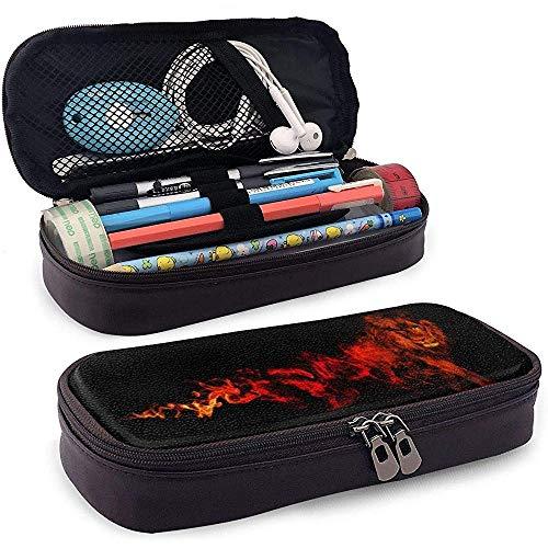 Lion Fire Black Artwork PU Leather Pen Pen Bag 20 * 9 * 4 cm (8X3.5X1.5 Inches) Pouch Case Holder Coin Purse Cosmetic Bag