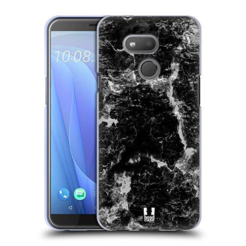 Head Case Designs Schwarz Marmor Drucke Soft Gel Huelle kompatibel mit HTC Desire 12s (2018)