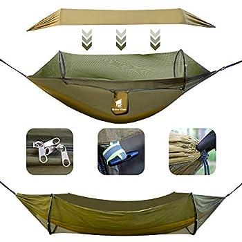 GEERTOP Hamac d'extérieur 3 en 1 avec bâche de protection solaire, imperméable et durable en nylon avec filet anti-moustiques, double couchage, équipement de camping pour randonnée