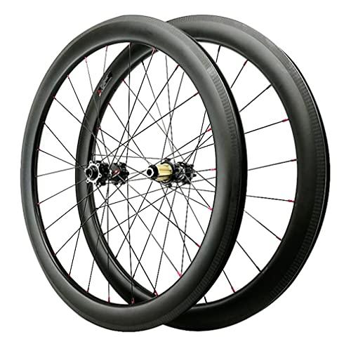 LSRRYD 700C Juego Ruedas Bicicleta De Carretera Carbon Fibre Llantas De Bicicleta 24H 29in Freno De C/V Freno De Disco Rueda Eje Pasante Buje para 7/8/9/10/11/12 Velocidades 1700g (Size : 700c 55mm)