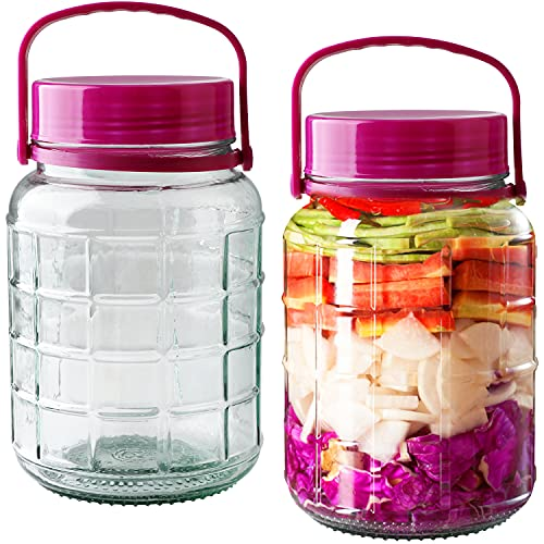 Glass Jars With Airtight Lids 0.8Gallon,110oz Airtight Mason Jars With Plastic Lids and Handle,3L Large Storage Jars for Dry Food,Pasta,Kitchen Canister For Canning Jars For Pickles,Big Jar for Fermenting Kombucha Kefir Sun Tea 2packs