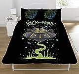 Rick and Morty UFO - Juego de Funda nórdica y Funda de Almohada (poliéster-algodón), Multicolor, Poliéster y algodón., Multicolor, 200 x 0.5 x 200 cm