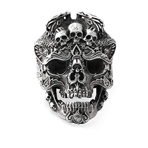 XIAOLIAN Anillo 925 Silver Rock Punk Skull Retro Hollow Anillo Masculino de Plata Tailandesa
