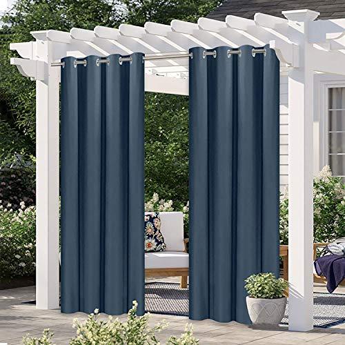 YLJXXY ortinas para Pérgola,Cortinas de Opaca Exterior Impermeable y Protección UV Cortina para Porche Pérgola Patio Gazebo (2 Pieza Azul Marino)