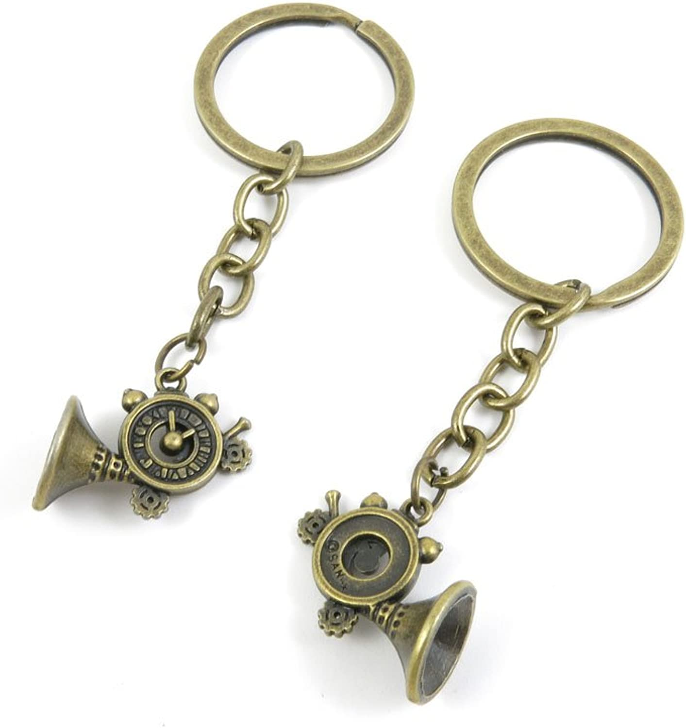 100 PCS Keyrings Keychains Key Ring Chains Tags Jewelry Findings Clasps Buckles Supplies N1CK4 Horn Clock