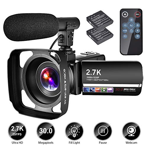 Video Camera Camcorder with Microphone YouTube Camera Recorder 2.7K Ultra HD 20FPS 30.0MP 18X...