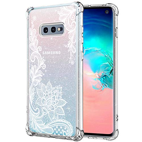KIOMY Clear Glitter Case for Samsung Galaxy S10E Girls Women Bling Sparkly Shiny Luxury Case with Lace Flower Design Shockproof Bumper Protective Floral Cell Phone Back Cover Slim Fit Flexible Shining