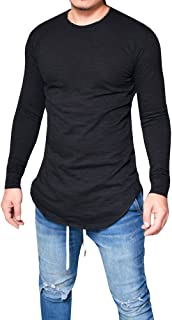 Karlywindow Men's Casual Solid Long Sleeve Hipster Hip Pop Swag Curved Hem T-Shirt