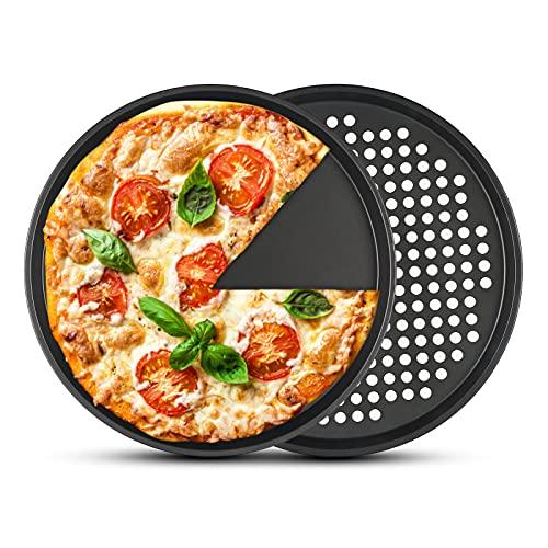 2 plateaux à pizza antiadhésifs, PAWACA plateau à pizza en acier au carbone de 12 pouces pour la cuisson au four, va au lave-vaisselle