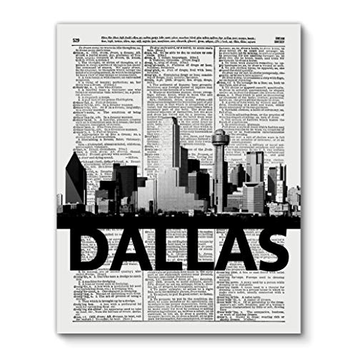 Dallas Skyline with Bold City Name, Vintage Dictionary Art Print Reproduction Contemporary Wall Art For Home Decor, Modern Boho Art Print Poster, Country Farmhouse Wall Decor 11x14 Inches, Unframed