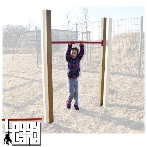 Loggyland Reckanlage, Turnreck, Reck, Metallreck, Kinderreckanlage (Kreuzpfosten-90cm, rot)