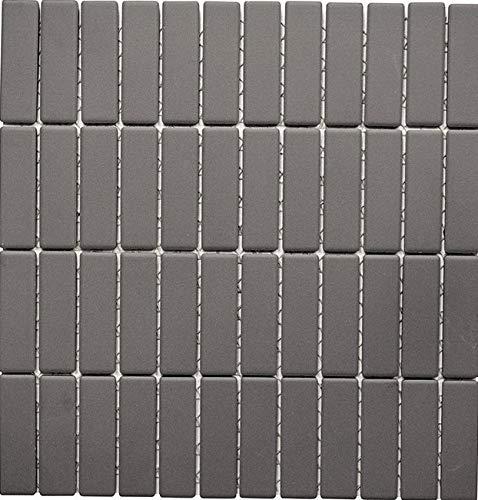 Mosaik-Netzwerk MosaikflieseStäbchen uni grau unglasiert rutschhemmend R10 Keramik rutschsicher trittsicher anti slip rutschfest, Mosaikstein Format: 21,6x71,9x5 mm, Bogengröße: 286,5x295 mm, 1 Bogen / Matte