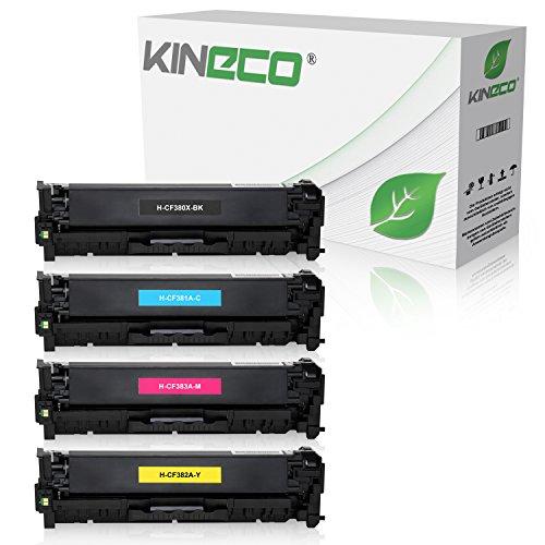 Kineco 4 Toner kompatibel zu HP CF380X CF381A CF382A CF383A Laserjet Pro MFP M470 Series M476 DN DW NW - Schwarz 4.400 Seiten, Color je 2.700 Seiten