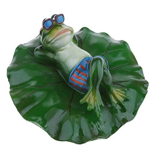 Fenteer Künstliche schwimmende Lotus Leaf mit Frosch Teichfigur für Garten, Pool, Aquarium, Teich Deko - Liegend