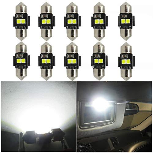 WLJH Lot De 10 Ampoules Canbus Blanc 3030 Led De3021 De3022 28Mm 29Mm Auto IntéRieures Pour Coffre Plafonnier 12V 6000K Ultra Lumineuse