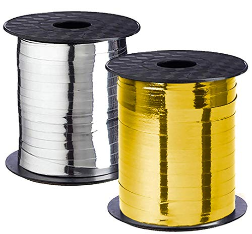 Curling Ribbon Gold White Flat Silver Champagne Gift Wrap Metallic Shiny Floral
