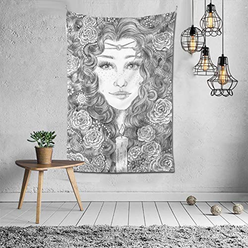 WANGJIA Brigid Oracle Imbolc Brigid Goddess Celtic Cross Tapestry Wall Decor Hanging for Dorm Party Bedroom Living Room Home Decorations Polyester 60w X 40l Inches