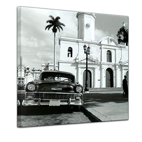 Bilderdepot24 Bild auf Leinwand | Oldtimer - Kuba in 60x60 cm als Wandbild | Wand-deko Dekoration Wohnung modern Bilder | 16082